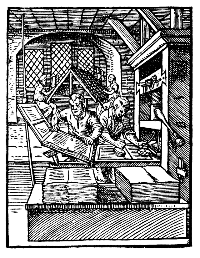 Early wooden printing press, depicted in 1568. Such presses could produce up to 240 impressions per hour. *Image from Wikipedia.